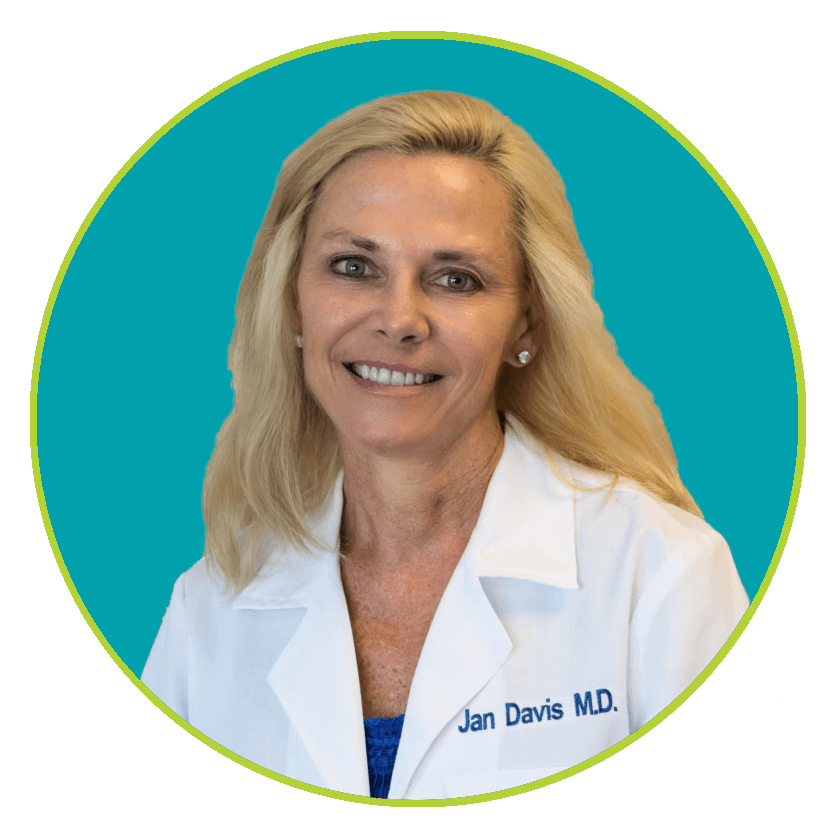 Jan Davis, MD, Savannah Med Spa aesthetician, qua blue