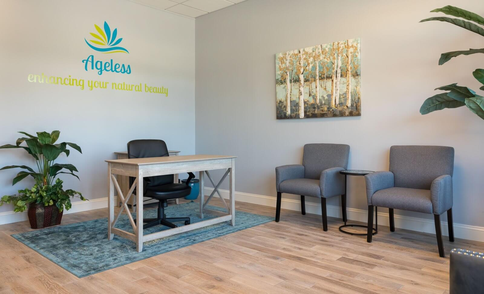Savannah Med Spa, lobby and receptionist desk