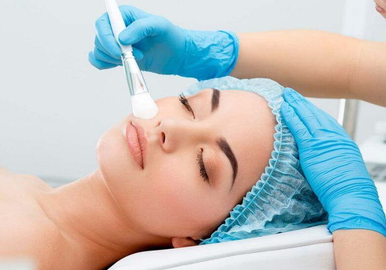 chemical peel being applied to patient, med spa service