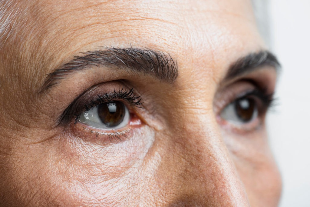 close up on senior woman's eyes, for wrinkles and lines reduction