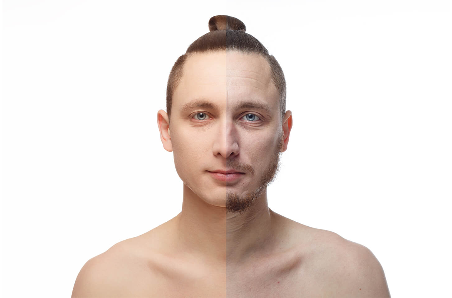 man profile before and after dermaplaning, split face
