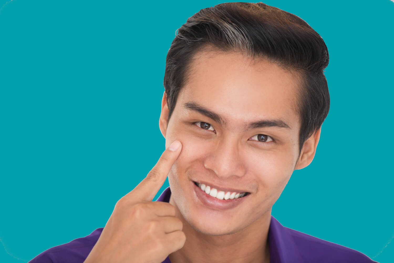 middle age asian man with beautiful skin, aqua blue