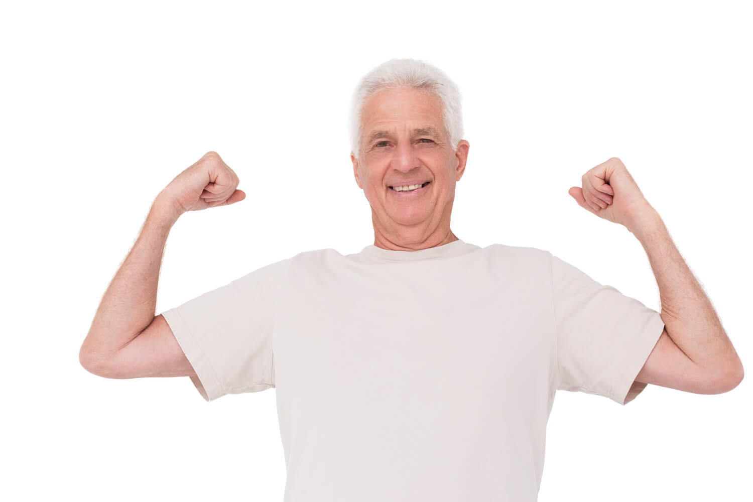 senior man flexing muscles, for testosterone replacement therapy