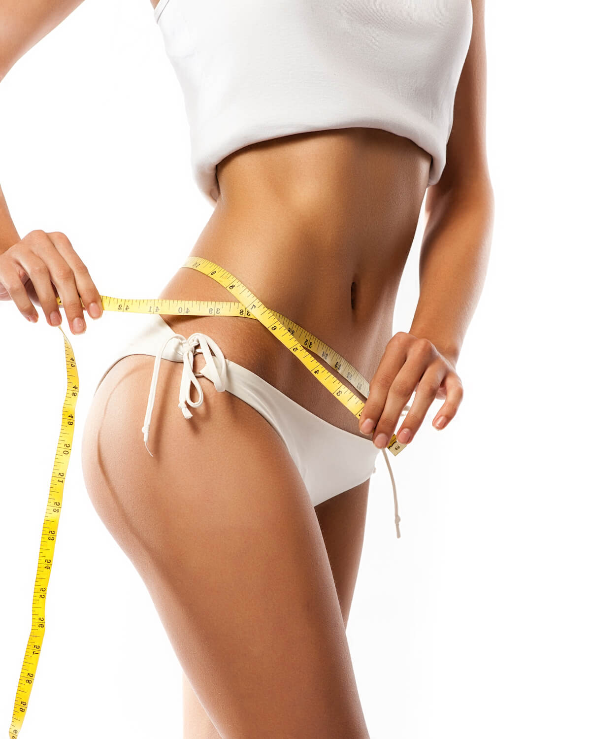woman measuring her body contouring weight loss 2