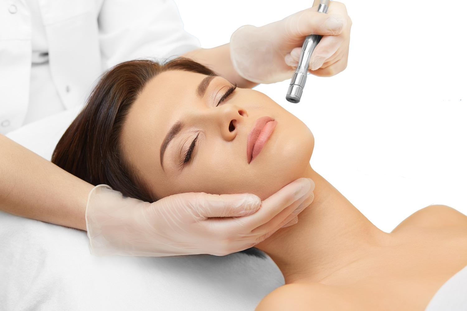young woman rejuvenating skin with microdermabrasion